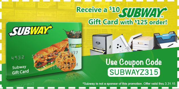 $10 Subway Gift Card with Purchase